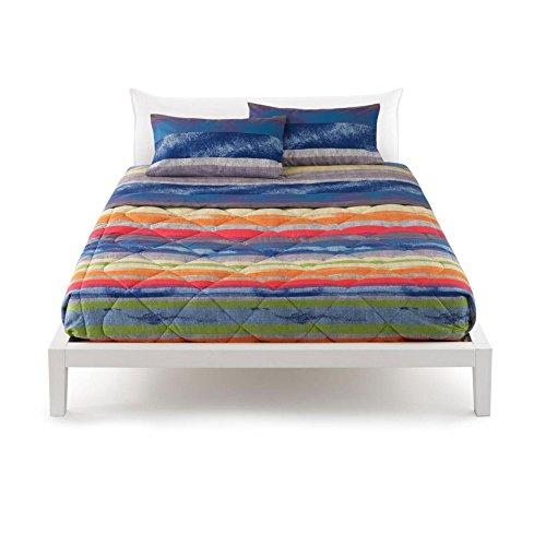 Set Bettwäsche für französisches Bett Reiner Baumwolle Bassetti Life East Village 3blau