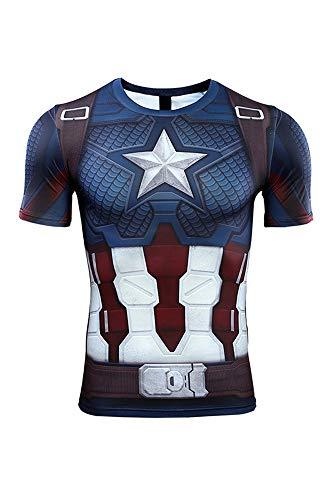Herren Damen Anime Cosplay Kostüm Avengers: Infinity War - Part II Endgame Captain America Kurzarm T-Shirt (Captain America Damen Kostüm)