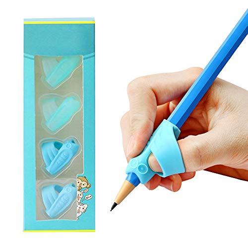 Yuccer Bleistift Griffe Kinder Bleistifthalter Haltungskorrektur Werkzeug für Kinder Kindergarten Erwachsene Spezielle Bedürfnisse Righties oder Lefties 4 Stück (Blau)
