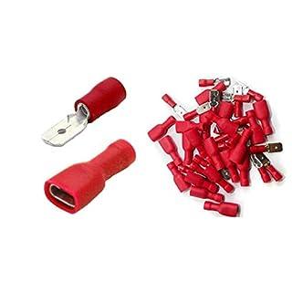 Shentian Kabelschuhe x 100 - Flachstecker Rot x50 / Flachsteckhülsen Rot x 50 - Steckmaß 6,3 mm, Quetschverbinder, Isolierte - Für Kfz.
