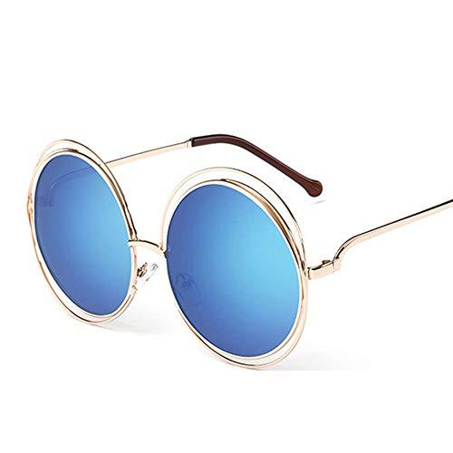 Vintage Sonnenbrille Rundem Hippie Metallrahmen Steampunk Style für Frauen und Männer, Blau