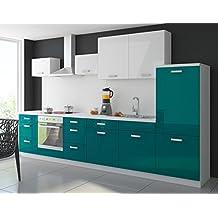 Küche Color 340 cm Küchenzeile Küchenblock Einbauküche in Hochglanz Petrol/Weiss
