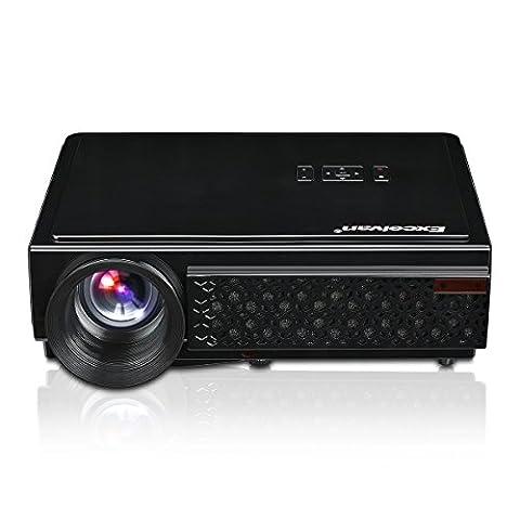 Excelvan Vidéoprojecteur LED 96+ 3D 1080p Résolution Native 1280 x 800 projecteur Cinéma Home Entrée AV HDMI VGA USB TV IR Interface Réseau - Noir