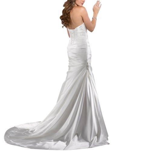 GEORGE BRIDE Sexy Liebsten Satin Kapelle Zug Brautkleider Hochzeitskleider Weiß