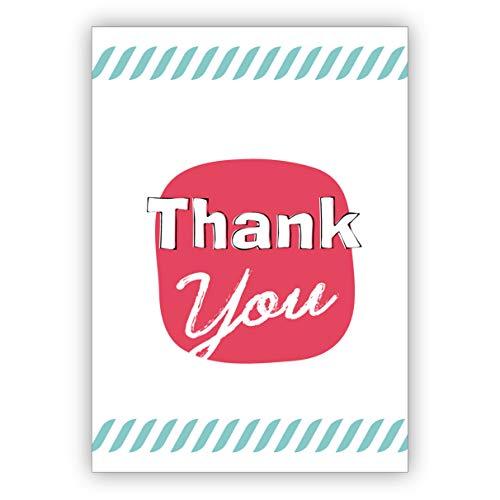 Conjunto de 10: Elegante tarjeta de agradecimiento en estilo retro, tarjeta de felicitación de alta calidad: thank you - con sobre