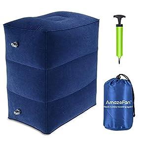 Aufblasbare Fußstütze für Reisen, Kinder-Flugzeugbett, höhenverstellbares Reisekissen für die Beine bei Langstreckenflügen, Auto- oder Bahnreisen, Flugzeug-Schlafkissen (blau)