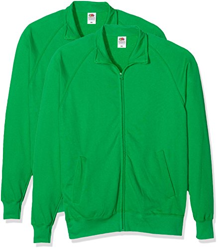 Fruit of the Loom Herren Sweatshirt Lightweight Sweat Jacket Grün (Kelly Green)