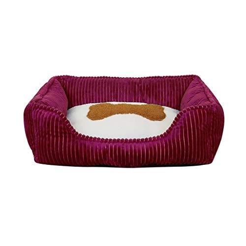 Yowablo Modernes Muster waschbar weiche Zwinger Haustiernest tiefen Schlaf bequemes Katzenbett (50 * 42 * 16cm,Rot)