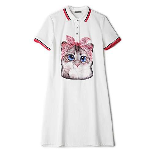 Kontrast Kragen Kleid Shirt (QUNLIANYI Abendkleid Kleid Kontrast Perlen Katze Cartoon Print T-Shirt Kleid Frauen High Street Baumwolle Turn Down Kragen Kurzarm Minikleid S Weiß)