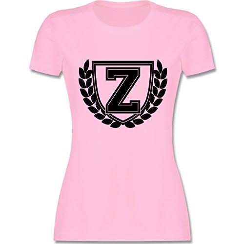 Anfangsbuchstaben - Z Collegestyle - tailliertes Premium T-Shirt mit Rundhalsausschnitt für Damen Rosa