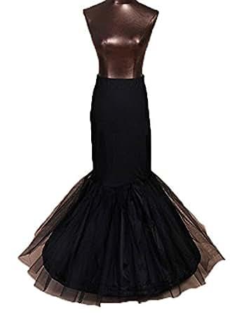 WDH Dress Fishtail Mermaid Petticoat Bridal wedding Petticoats Underskirt Crinoline (Free Size, Black)