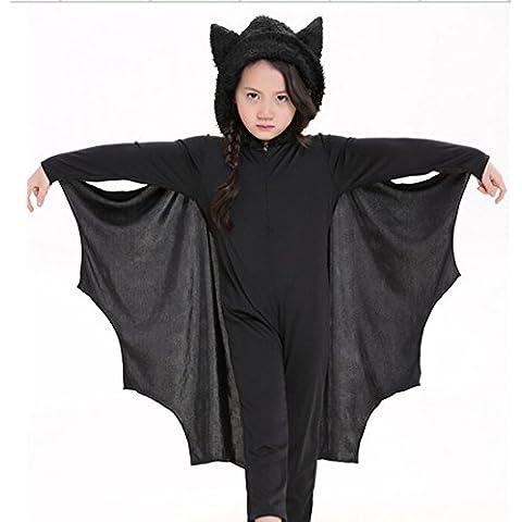YOKIRIN Halloween Bambino Bat Vestito Pagliaccetto Pipistrello Costume One-piece (Vestito + Guanti) - M (Altezza 115-130CM)