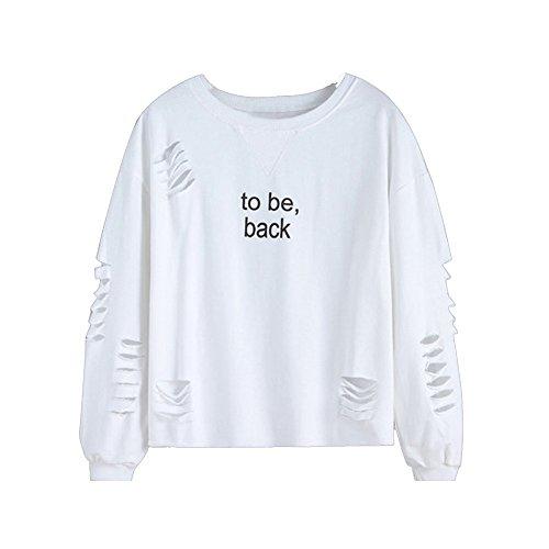 Ulanda Damen Frauen Teenager Mädchen Sweatshirt Loch Bluse Sweater Langarm Pulli Sprüche Pullover Sport Hoodies Top Jumper Oberteile Top Shirt (Weiß, M)