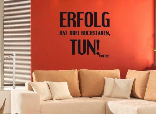 """Wandtattoo """"Erfolg hat drei Buchstaben: TUN!"""" - Arbeitszimmer W 193 (58x53 cm) silbergrau-metallic"""