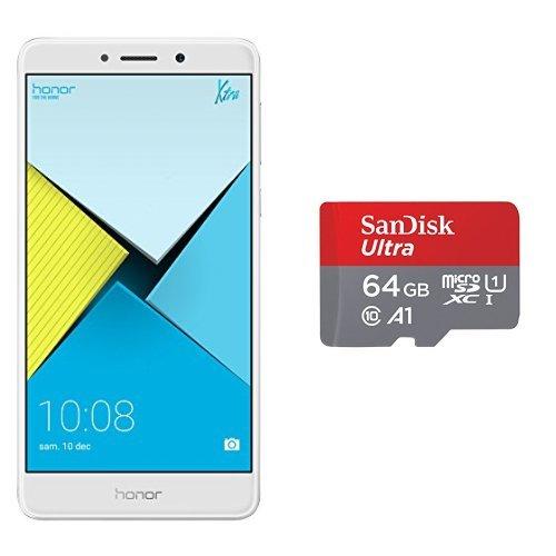 Honor 6X Smartphone portable débloqué 4G (Ecran: 5,5 pouces - 32 Go - Double Nano-SIM - Android 6.0 Marshmallow) Argent + Carte Mémoire 64GB