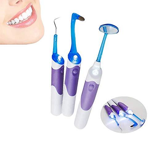 Grundlegende zahnärztliche Instrumente LED-Licht - Zahnspiegel + Plaque entfernen + Zahn Fleck Radiergummi 3 Teile / satz Professionelle Home Oral Dental Hygeine Reinigungswerkzeug Kits -