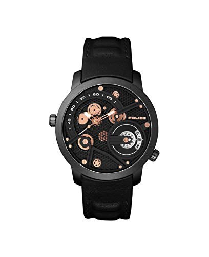 Police Unisex Erwachsene Analog Quarz Uhr mit Leder Armband PL15471JSB.02