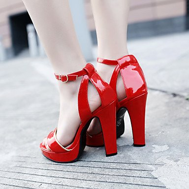 LvYuan Da donna-Sandali-Ufficio e lavoro Formale Serata e festa-Club Shoes-Quadrato-PU (Poliuretano)-Nero Rosso Borgogna Verde chiaro Red