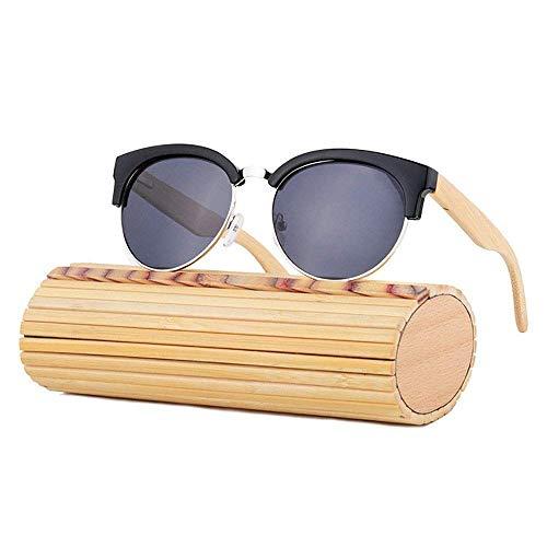 MXHSX Sonnenbrille Bambusbein, polarisierende Schutzbrille mit UV400-Schutz Damen und Herren Fahren Radfahren Angeln Golf und Outdoor-Aktivitäten (Farbe: Retro Holzmaserung + Tee),Schwarz + grau