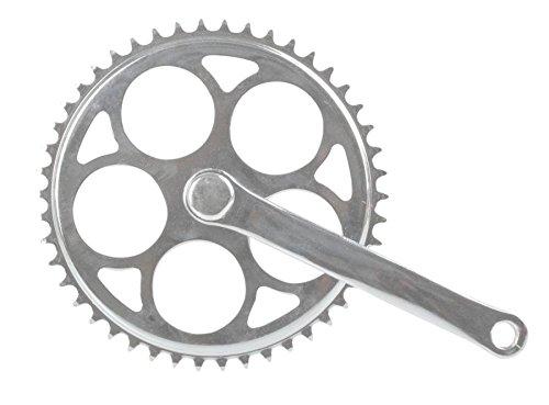 Ridewill Bike Kurbelsatz starr-46d Stahl 170mm Silver (guarniture City Fixed)/Crankset Fixed Single Speed 46T Steel 170mm Silver (City Fixed cranksets) (Kurbel Schraube Linke)