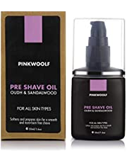 Pink Woolf Pre Shave Oil – Oudh & Sandalwood – Provides Razor Glide for a Smooth Shave - 50 ml