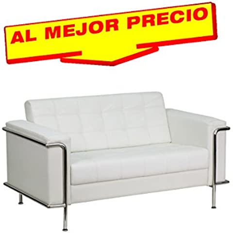 SOFÁ SIMILPIEL MODELO LEEDS 2 PLAZAS BASE ACERO INOXIDABLE, SIMILPIEL BLANCA-- ESPECIAL SOFÁ 2 PLAZAS-¡AL MEJOR