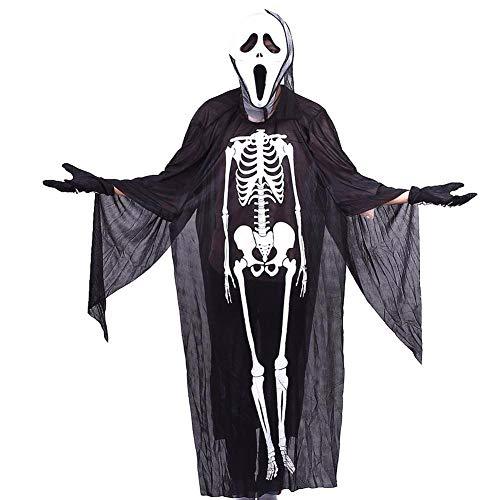 Festliche Weihnachtsdekoration Halloween Ghost Skeleton Kostüm, Screaming Mask Handschuhe Anzug Maskerade Schädel Kleidung Cosplay Devil Dekoration Requisiten Schaffen Sie eine Festliche Atmosphäre (Ghost Kostüm Screaming)