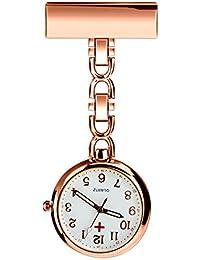BestFire Nurse Lapel Pin Watch Clip-on Hanging Medical Pocket Watch Men Women Quartz Hanging Doctor Pocket Watches Nurses Watch with Gift Box (Rose Gold)