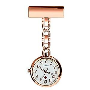 BestFire Krankenschwester Revers Pin-Uhr-Clip-on Hanging Medical Taschen-Uhr-Mann-Frauen-Quarz-hängenden Doktor Taschenuhr Krankenschwestern Uhr mit Geschenk-Box