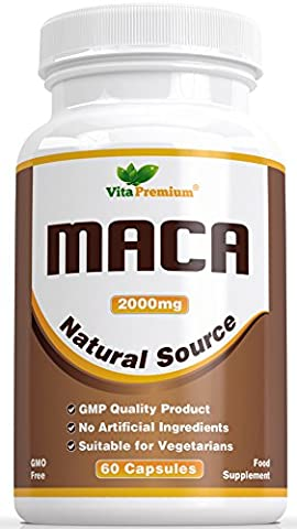 Maca Root Capsules 2000mg - 100% MONEY BACK GUARANTEE, High Strength Extract, 60 Veggie Capsules, Vita Premium Maca – Powerful Energy and Mood Booster, Can Help Promote Fertility and Boost Libido, Feel the Difference of Your Money