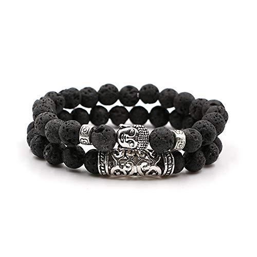 Souarts Set Unisexe Bracelet Femme Homme Yoga Accessoire Perles Pierres Cadeau Noël Anniversaire Original