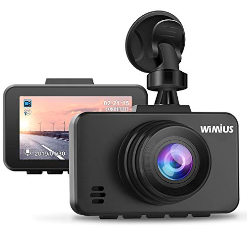 WiMiUS Dashcam Full HD 1080P Auto Kamera mit 170° Weitwinkelobjektiv, 2.45 Zoll LCD-Bildschirm Autokamera mit G-Sensor, WDR, Parkmonitor, Nachtsicht und Loop-Aufnahme -