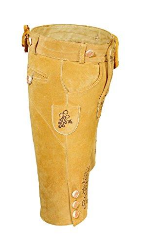 Edle Damen Trachten Lederhose aus feinem Rindsvelourleder traditionell, inklusive  Hosenträger, Knielang/Wiesn/Oktoberfest/Volksfest/ Gelb