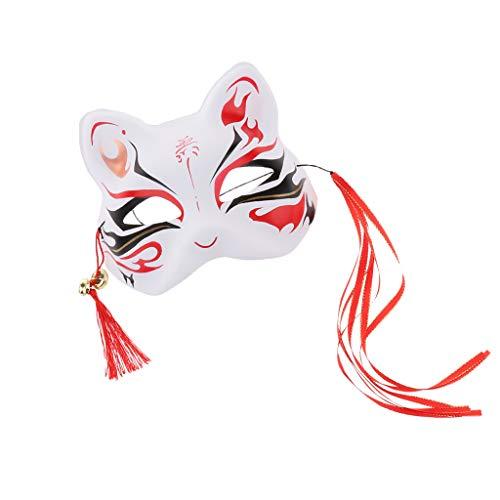 Hellery Japanischer Stil Katzenmaske Quasten Cosplay Maske, Neuheit Karneval Fasching Halloween Cosplay Party Zubehör für Damen und Herren - Stil A (Herr Und Frau Fuchs Kostüm)