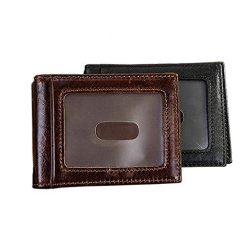 Qiy Mens Bifold Wallet, Schlank Rindleder-echtes Leder, Außen ID Fenster Clips Kartenetuis, RFID-Blocking, Mappen für Männer Frauen,Brown -