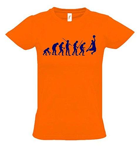 BASKETBALL Evolution Kinder T-Shirt orange-navy, Gr.164cm