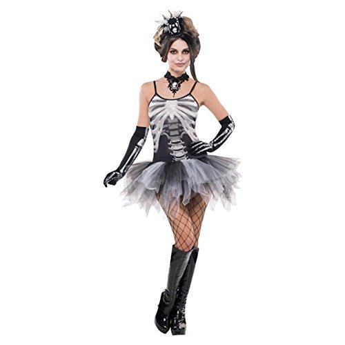 shoperama Tutu-Kleid mit Skelett-Aufdruck Gr. S/M Knochen Halloween Damen Kostüm (Tutu Kostüm Skelett)