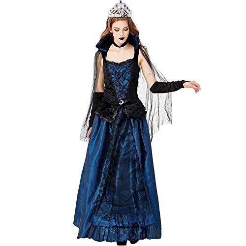 Hcxbb-b Damen Vampir Königin, Damen Deluxe Hexe Halloween Märchen Kostüm Cosplay Kostüm (Farbe : Blau, Size : S)