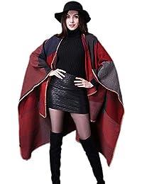 GRACE KARIN Mujer Poncho de Cuadros Tartán Poncho Reversible de Otoño Multicolor