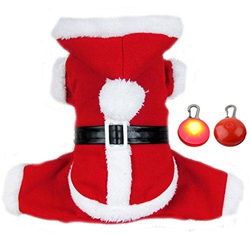 Imagen de pet leso® cachorro de perro navidad traje abrigo mascota perro disfraz papá noel con un led intermitente perro etiqueta–xl