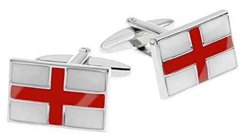 Code Red Men's St George Flag Red and White Enamel Base Metal Cufflinks Test