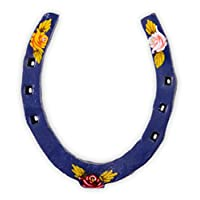 Black Country Metal Works Hand Painted Narrow Boat Horseshoe - Canal Art - Blue Finish with Flowers