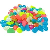 ‏‪300Pcs Glow in the Dark Garden Pebbles Stones for Walkway Yard Graved Fish Tank Plant Pot Decoration and DIY(Mixed Colors)‬‏