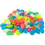 300Pcs Glow in the Dark Garden Pebbles Stones for Walkway Yard Graved Fish Tank Plant Pot Decoration and DIY(Mixed Colors)