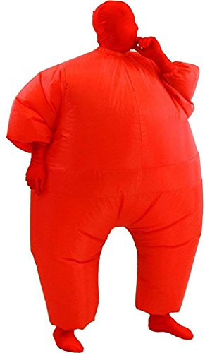 able Erwachsene Chub Suit Kostüm Blow Up Jumpsuitp (schwarz), Red, One size Erwachsene (Halloween Blow Up)