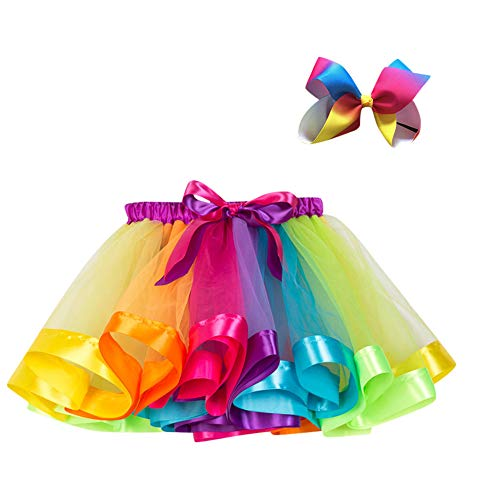 Xmiral dress,ragazze tutu partito danza arcobaleno principessa balletto gonna costume + bow tornante set altezzat:140-150cm multicolore