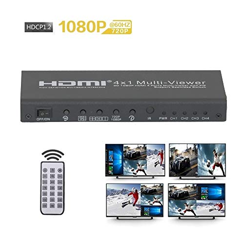 HDMI 4x1 Multi-Viewer Support 1080p60hz 4HD Source| 4 Port HDMI Seamless Switch Screen Splitter 5 Mode 4 in 1 Out with IR Remote High-performance-video-splitter
