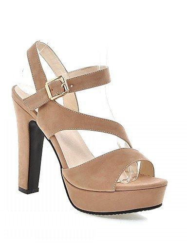 UWSZZ IL Sandali eleganti comfort Scarpe Donna-Sandali-Matrimonio / Ufficio e lavoro / Serata e festa-Spuntate-A stiletto-Finta pelle-Nero / Tessuto almond almond