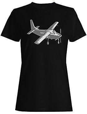 Negro plano piloto divertido vintage retro camiseta de las mujeres d794f