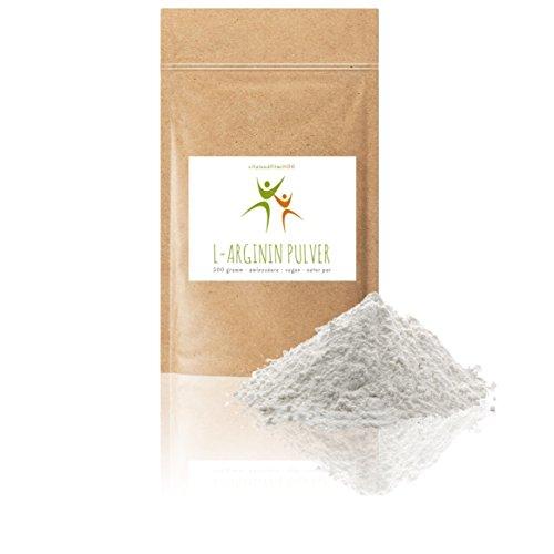 L-Arginin Base Pulver - 500g - nicht-essentielle Aminosäure - pflanzl. Ursprung, gewonnen durch Fermentation - 100% vegan - Reinsubstanz - glutenfrei - laktosefrei - OHNE Hilfs- u. Zusatzstoffe - Pulver-liege